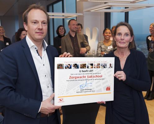 Vakschool Zorgwacht®, ontvangt LEF subsidie uit handen van Wethouder Jeroen Kreijkamp, Economische Zaken